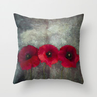 Three red poppies Throw Pillow by Maria Heyens