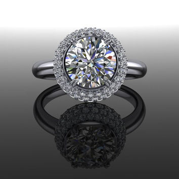 Forever Brilliant Moissanite and Diamond Halo Engagement Ring 2.60 CTW