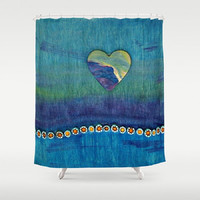 Blue, Purple, Heart, Waves, Mixed Media - Decorative Shower Curtain - Machine Washable - Home Decor, New Home - Made to Order - BHP#65