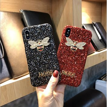 Luxury Bling Glitter Case For Iphone X XS MAX XR 8 8 Plus 7 7 Plus Case Crystal Bee For Iphone 6 6S Plus 5 5S SE Case