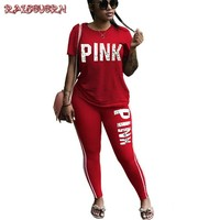 RAISEVERN Summer Letter Print Tracksuits Women Two Piece Set Spring Street t-shirt Tops and Jogger Set Suits Casual 2pcs Outfits