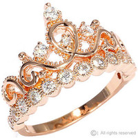 Sterling Silver Crown Ring / Princess Ring (Rose Gold Plated)