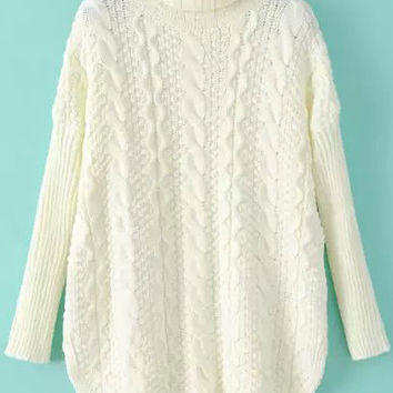 Beige High Neckline Drop Shouldered Knit Sweater