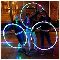 """LED Hula Hoop Weighted Dance & Fitness Glow Light Up Hoola Hoops for Adults and Kids, 24 Color Strobing Changing LED Light, 8 Section Detachable Design, Portable Hula Hoops 36"""" (batteries not include)"""