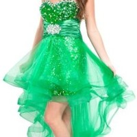 Sequin High-Low Prom Dress Homecoming Gown w/ Net Skirt, XS, Green