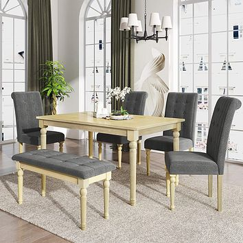 Table Set with 4 High Back Upholstered Dining Chairs and Tufted Bench