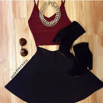 Zoe Knit Crop Top in Burgundy