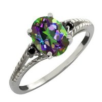 2.51 Ct Green Mystic Topaz & Black Diamond Silver Ring