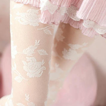 YESSTYLE: SHY SHY- Rose Lace Tights (White - One Size) - Free International Shipping on orders over $150