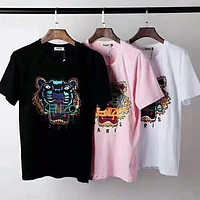 KENZO 2019 new embroidered tiger head men and women models round neck pullover half sleeve t-shirt