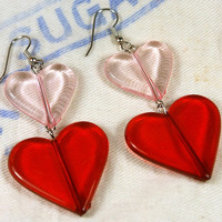Double Heart Earrings in Red and Pink