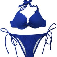 Royal Blue Bikini Halter Straps Lace Up Synthetic Swimsuit