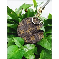 LV Louis Vuitton Fashionable Boys Girls Circular Small Bag Leather Key Pouch Car Key Wallet