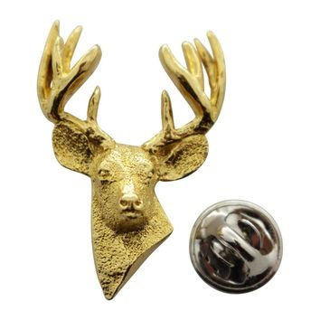 Ten Point Buck Pin ~ 24K Gold ~ Lapel Pin