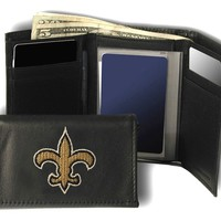 Rico New Orleans Saints Embroidered Leather Trifold Wallet
