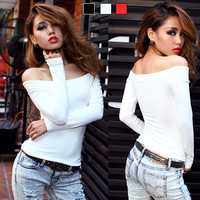 Hot Sexy Womens Boat Neck Off Shoulder Long Sleeve Tee Tops Tight T-shirts T964