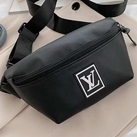 LV New fashion letter print leather waist bag shoulder bag crossbody bag Black