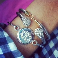 Sterling Silver Monogram Bracelet with Nautical Trim