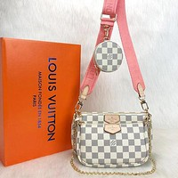 LV Louis Vuitton Letter Three-piece Mahjong Bag Shoulder Bag Messenger Bag Shopping Bag