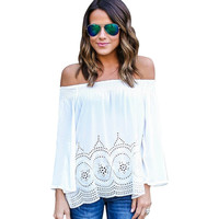 Summer Bohemian White Crop Top For Off Shoulder T shirt Tops Women Clothing