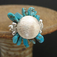 SIZE 7.7 RING Blue Dry Creek Turquoise Jewelry Silver Ring Wire Wrapped