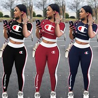 Champion tide brand female letter print sports suit two-piece