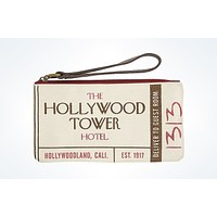 Disney Parks Hollywood Tower Hotel Canvas Wristlet New with Tags