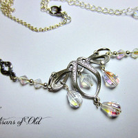 Ribbon & Teardrops Wedding Circlet or Necklace Set Fairy Circlet