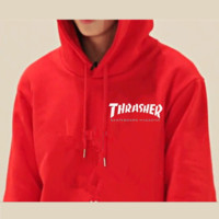 """""""Thrasher""""Quality hooded sweater flame slide hip sweater Letters on the side Red"""