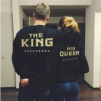 Women's Fashion Alphabet Print Couple Hoodies Casual Sports Jacket [6305034500]