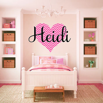 Personalized Chevron Heart Name Monogram Girls Wall Decal Graphic Vinyl Sticker Home Bedroom Nursery Wall Decor