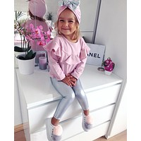 2017 Spring Autumn Newborn Baby Girls Clothes Sets Long Sleeved Pink Tops+Silver Leather Pants+Hat Children's Kids Clothing Sets