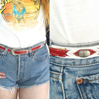 Vintage LEATHER Two Tone White Red Concho Silver Belt // Southwestern Western Hippie Boho Gypsy // XS Extra Small / Small