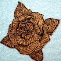 Cowhide Leather Engraved Rose Iron on Patch