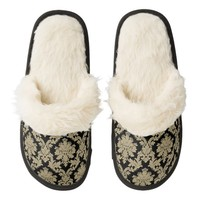 Vintage Black and Gold Damask Fuzzy Slippers