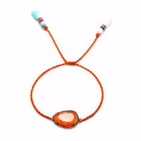 Orange Cracked CZ Knit Tassel Bracelet