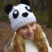 Panda hat-Teen girl beanie-Girlfriend gift-Knit winter wool hat-Panda bear white black-fall spring Gift for teen girl Valentine gift animal