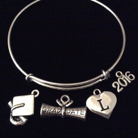 Custom with Initial Diploma Graduation Cap 2016 Expandable Silver Charm Bangle Bracelet Trendy Gift