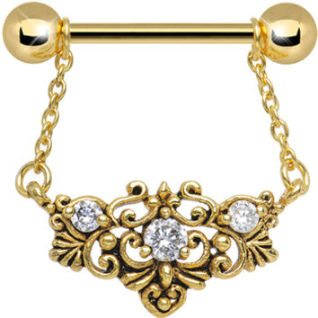 Gold Plated Clear CZ Filigree Dangle Barbell Nipple Ring | Body Candy Body Jewelry