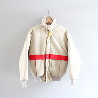 Free Shipping Retro 80s Down Fill Puffer Jacket Classy Beige Red Puffer Bomber Jacket Made in Canada Vintage Size S - M
