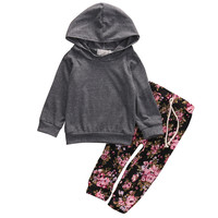 US Stock Newborn Long Sleeve Hooded Top Baby Girls Grey Outerwear Hoodies +Floral Pants Outfits Set Clothes
