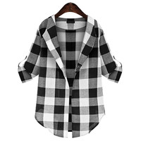 Black And White Plaid Cuff Sleeve Shirt
