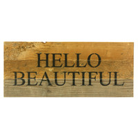 Hello Beautiful - Reclaimed Wood Art Sign 14-in x 6-in