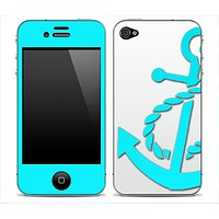 Solid White & Blue With Turquoise Anchor V3 Skin for the iPhone 3gs, 4/4s or 5