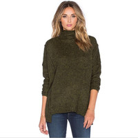 Green Loose High Neck Pullover Knitted Sweater B0013539