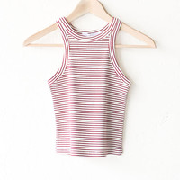 Striped Ribbed Crop Top - Burgundy