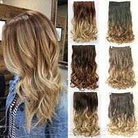 "24"" 60cm Curly Wavy 3/4 Full Head Clip in Hair Extensions Ombre Hairpiece"