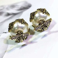 DIOR Stylish Women Chic Bee Pearl Earrings Accessories Jewelry