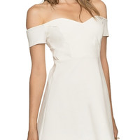 White Off The Shoulder Fit & Flare Mini Dress