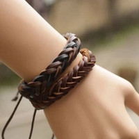 couple bracelet 2 color real leather bracelet women Leather Bracelet Men leather bracelet, boyfriend gift  T036